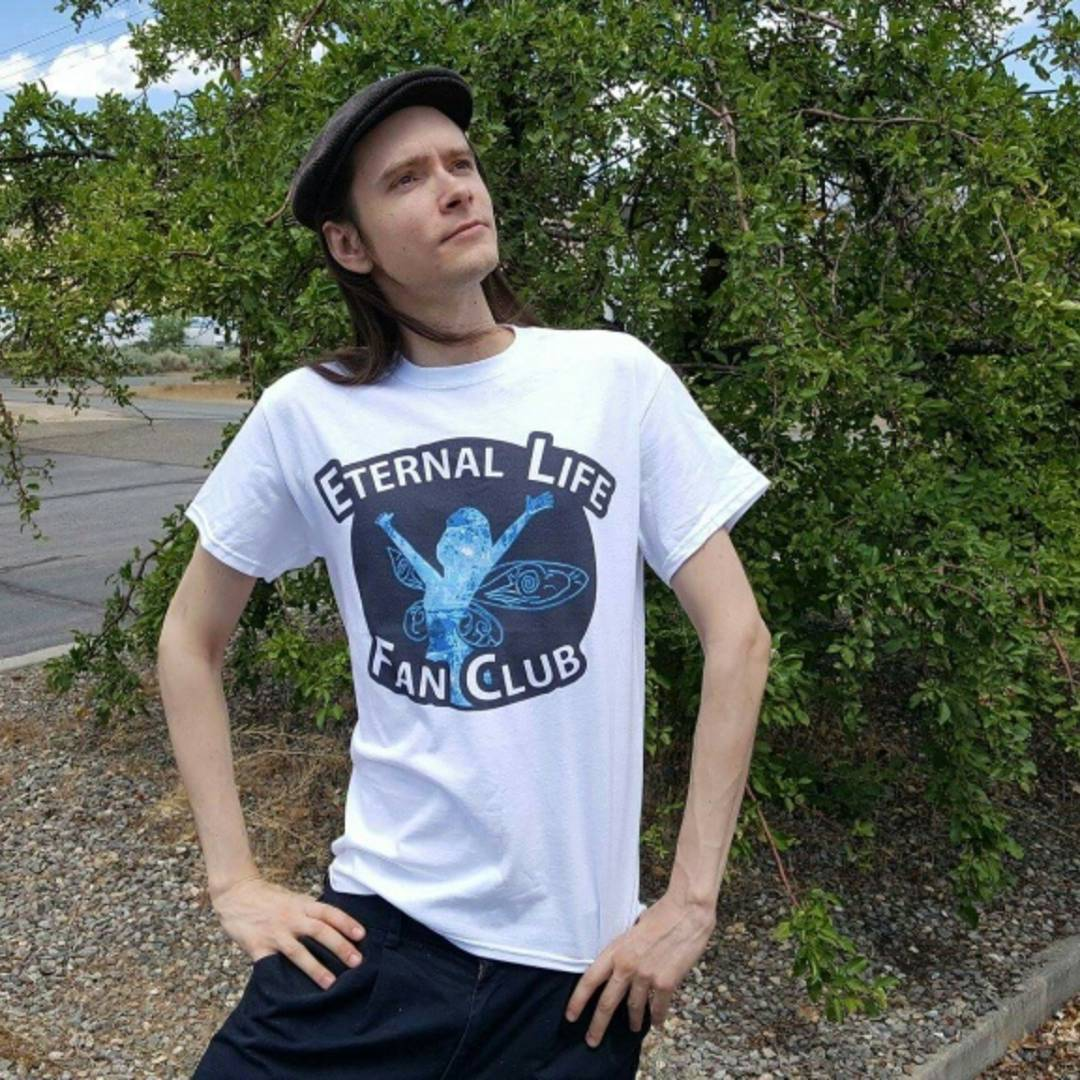 Roen proudly wears the Eternal Life Fan Club T-Shirt